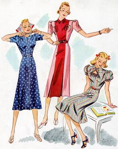 Butterick 7831 and 7826 in 1938 ca. Butterick Sewing Patterns, Vintage Sewing Patterns, 1930s Fashion, Retro Fashion, 1940s Dresses, Vintage Dresses, Big Shoulders, Retro Pattern, Colorblock Dress