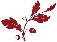 Antique Clip Art - Oak Leaf & Acorns - Silhouette - The Graphics Fairy