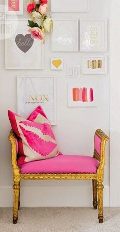Add a small bench under a gallery wall for extra interest.