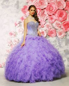 Dreaming of a purplish Spring #Quinceanera with Style 80307 in Organza Tulle! We love the butterfly beading on the bodice and the simply gorgeous silhouette!