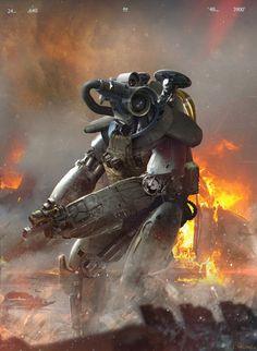 Sci-Fi Art: Pistol - Sci-Fi Art by James Chung, United States. Diesel Punk, Ghost In The Machine, Robot Concept Art, Futuristic Design, Futuristic Robot, Sci Fi Characters, Science Fiction Art, Sci Fi Fantasy, Dark Fantasy