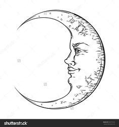 Antique Style Hand Drawn Art Crescent Moon. Boho Chic Tattoo Design Vector Illustration - 503375326 : Shutterstock Cresent Moon Tattoo, Cresent Moon Drawing, Tattoo Moon, Chic Tattoo, Moon Tattoo Designs, Sun Tattoos, Moon Illustration, Line Work Tattoo, Free Art Prints
