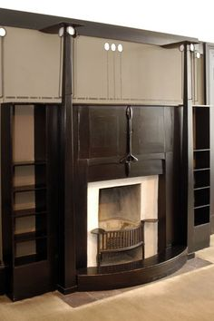 VICTORIAN: Fireplace for Dining Room, 120 Mains Street, Glasgow 1900 by Charles Rennie Mackintosh.