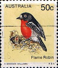 Australia 1978 Flame Robin  Other Australian Stamps HERE...  subfamily PETROICINAE.