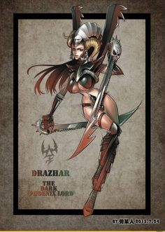 Drazhar, the Dark Phoenix Lord Warhammer 40k Dark Eldar, Warhammer Art, Warhammer Fantasy, Warhammer 40000, Tau Empire, Tyranids, The Grim, Fantasy Inspiration, Space Marine