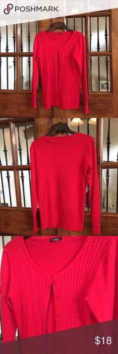 EUC Vila Milano Cardigan in Red Red Vila Milano Cardigan is beautiful with detailed weaving- see photos. Wear to work and add a pop of color to any outfit! Also selling this sweater in blue/ teal. Excellent condition.   Buy with Confidence:  👑Posh Ambassador  🔝Top Rated Seller- 5 Star Average Reviews.  📦Ships same or next day! 💰SAVE 10%- Bundle w other items from my closet! ✅Reasonable offers considered- Make me an offer! Vila Milano Sweaters Cardigans