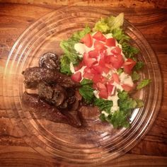 Day 7: Boneless #pork strips with a #creamy #mushroom garnish and a #sidesalad topped with #homemade #ranchdressing. #keto #ketosis #ketodiet #ketogenic #ketodinner #ruledme #lchf #lowcarb #lowcarbhighfat #healthyfood #healthychoices #healthylifestyle #cleaneating #bonappetit by ele.hui.75