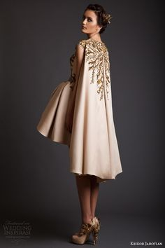 krikor jabotian spring 2014 couture cap sleeve gold asymmetric hem dress with cape back embroidery