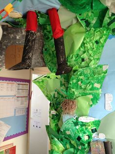Jack and the beanstalk display. 3D. Preschool. Giant coming out of the sky.