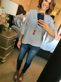 Casual date night outfit - striped bell sleeved top, frayed hem jeans, tassel necklace and rose gold huarache sandals. Alison's Friday Favorites http://getyourprettyon.com/alisons-friday-favorites-3/?utm_campaign=coschedule&utm_source=pinterest&utm_medium=Alison%20Lumbatis%20%7C%20Get%20Your%20Pretty%20On&utm_content=Alison%27s%20Friday%20Favorites