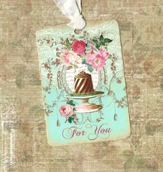 Gift Tags, rozen, Vintage stijl, voor u, Tags