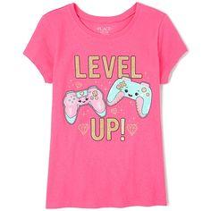 Girls Short Sleeve Glitter 'Level Up' Video Game Graphic Tee Kids Boy, Kids Girls Tops, Shirts For Girls, Kids Shirts, T Shirt Kids, Pastel Tops, Girl Outfits, Cute Outfits, Gamer Shirt