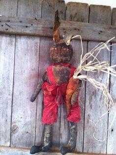 Primitive Black Folk Art Bunny Rabbit Doll Easter Spring with Carrot Grungy  #NaivePrimitive