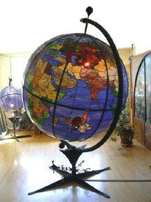 Stained glass Globe - this would be gorgeous in my dream home. this is a beautiful globe. Stained Glass Lamps, Stained Glass Windows, Mosaic Glass, Globe Art, Map Globe, Vintage Globe, Vintage Maps, Vintage Market, World Globes