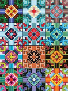 Korean Patterns on Fabric, Multicolour (Original Pattern, Top Left) Korean Traditional, Traditional Art, Textures Patterns, Print Patterns, Korean Colors, Korean Crafts, Korean Design, Chinese Patterns, Korean Art