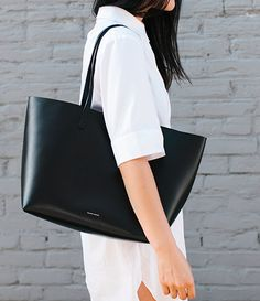 MINIMAL + CLASSIC: Black Mansur Gavriel + white shirt dress