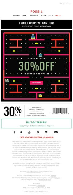 We like this pacman gif animation in email from @fossil