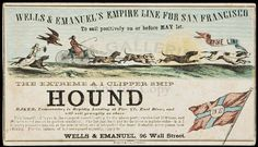 Hound clipper ship card graphic of dogs pulling a cart.