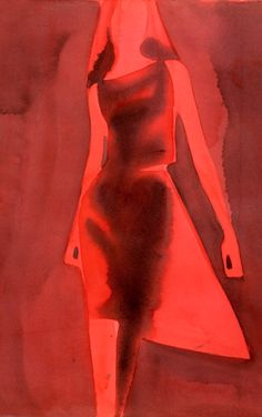 Illustration by Mats Gustafson, 1 9 9 9, Red Dress, Yohji Yamamoto.