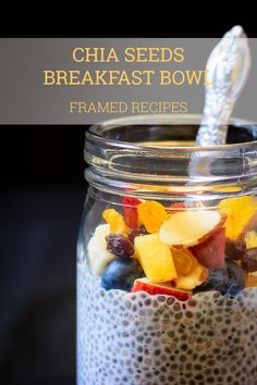 Rainbow in a bowl - chia seeds topped with fruits & nuts. It is like having dessert , but healthier. Chia seeds breakfast bowl- the perfect to-go breakfast.
