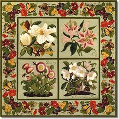 Elizabeth Bradley: Floral Carpet - I'm busily stitching away on my floral squares but will do the ribbon border.