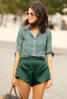 The Man Repeller knows would to wear a statement skirt! #emerald #gingham
