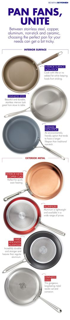 Need some help navigating the world of  kitchen cookware? Here's a quick rundown of  some of the benefits stainless steel, copper,  aluminum, non-stick and ceramic pots  have to offer.