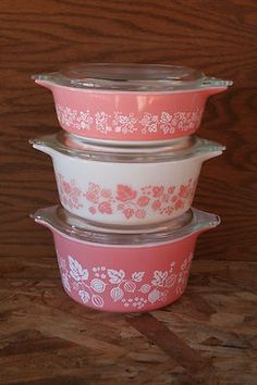 Set of 3 Vintage Pyrex Pink Gooseberry Cinderella Bakeware with Lids   eBay #gotta have this #pink