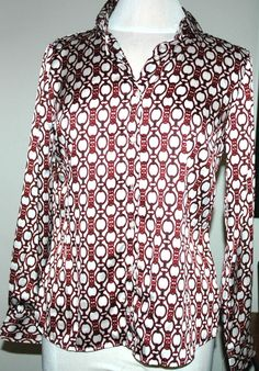 Tommy Hilfiger Women's Chain Button Down Blouse Size M $79.50 NWT #TommyHilfiger #ButtonDownBlouse #WorkCasual
