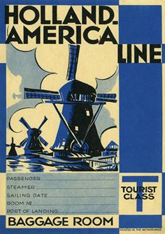 Artist Unknown  Holland-America Line (Luggage Label), 1930 ca.