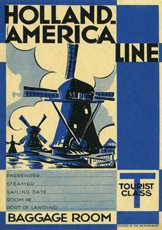 Artist Unknown  Holland-America Line (Luggage Label), 1930 ca.