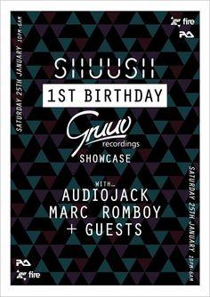 Shuush 1st Birthday feat. Audiojack & Marc Romboy | Fire | London | https://beatguide.me/london/event/fire-shuush-first-birthday-x-gruuv-showcase-w-marc-romboy-audiojack-a1-bassline-more-20140125