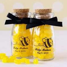 Personalized Printed Bee Vintage Milk Jars