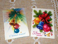Happy New Year 2 Postcards. Unused vintage от VintageUSSRshop