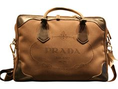 PRADA - Briefcase with handles and carry strap.