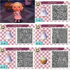 Eyelet dress and headband design by Peanut Fashions for Animal Crossing New Leaf QR codes. Visit peanutfashions.tumblr.com for full resolution codes.