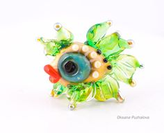 handmade glass lampwork bead with fish, Lampwork beads, glass fish, lampwork focal bead, glass lampwork bead, , Green fish, fairy fish  Small bead with fish. lampworking, g...