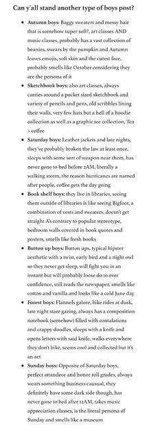 types of boys