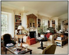 Annette de la Renta's Magnificent Bedroom - but also could use this design for a living room without the bed - Arch Digest