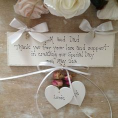 Personalised Wedding Day Thank You Gift Mum Dad Bridesmaid Handmade Wooden Sign