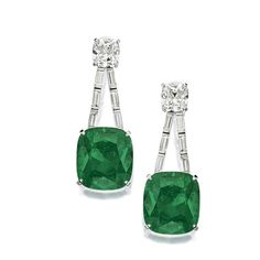 SPECTACULAR PAIR OF EMERALD AND DIAMOND PENDENT EARRINGS, CARVIN FRENCH. Each set with a cushion-shaped emerald weighing 27.04 and 26.33 carat respectively, suspending from a double chain set with baguette diamonds, surmounted by a cushion-shaped diamond weighing 4.02 and 4.43 carats respectively, mounted in platinum.