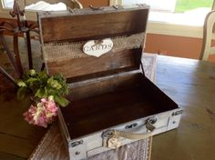 Rustic+Wedding+Card+Box+With+Burlap+Banner+by+ladedadesign+on+Etsy,+$54.99