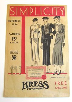 Vintage Sewing Pattern Catalog Booklet Simplicity November, 1934 - ORIGINAL