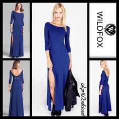 """WILDFOX Maxi Eat Your Heart Out Cocktail RETAIL PRICE: $148  NEW WITH TAGS   WILDFOX Maxi Dress Eat Your Heart Out   * A fit-and-flare style * Incredibly soft & comfy stretch to fit fabric w/a subtly distressed look * Crew neckline & 3/4 long sleeves.  * Back scoop & printed text detail    * About long 59"""" long.  Fabric: 46% Modal, 46% Cotton, & 6% spandex; Made in the USA.  Color: City Night Blue Item:126900  No Trades ✅ Offers Considered*✅ Bundle Discounts ✅ *Please use the blue 'offer'…"""