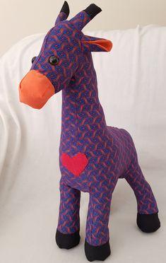 giraffe, soft toy, shweshwe, african animal, toy, toys, handcrafted, children, gifts, UthandoLove, stuffed toy animal Stuffed Toy, African Animals, Plush Animals, Learn To Sew, Pet Toys, Giraffe, Children, Kids, Dinosaur Stuffed Animal