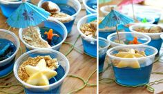 Under the sea party treats blue jello, with cool whip topped with crushed graham crackers to make a beach! this would be perfect for a beach party or a wedding if it alcohol is added. Luau Party, Beach Party, Fiesta Party, Hawaian Party, Little Mermaid Parties, Shark Party, Under The Sea Party, Party Treats, Kids Meals