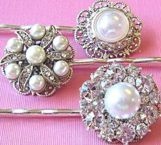 Wedding Hair Pins, Pearl and Crystal, Rhinestone bobby pins, Bridesmaids hair, vintage style wedding hair accessories, Bridal hair pins