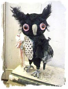 Little shabby black hoot owl  by whendisbears