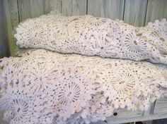 Vintage white color hand crochet large size cotton blanket coverlet, hand crochet bed cover, hand crochet sofa cover hand crochet bed spread by HTArtcraftAndVintage, $54.99