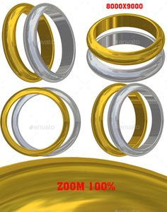 3D Render of Ring. Photoshop layered file with 2 materials of the rings (silver, gold) and 4 different views. Put them on your own